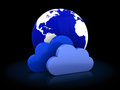 Cloud storage icon d illustration of earth globe concept Royalty Free Stock Photography
