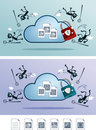 Cloud storage protected from computer virus Royalty Free Stock Images