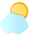 Cloud with sun isolated on white background d illustration Stock Images