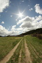 Cloud and sun in pyrenees aude languedoc region of franc Stock Photos