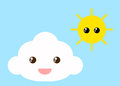 Cloud and sun vector style cute Stock Photo