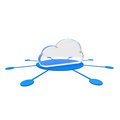 Cloud symbol on a blue disc Stock Photo