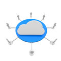 Cloud symbol on a blue disc Stock Photos