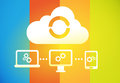Cloud sync across devices synced together on laptop tablet smartphone and pc Stock Image