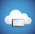 Cloud and tablet illustration design over a blue background Stock Photos