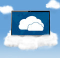 Cloud technologies modern laptop in skies Royalty Free Stock Photo