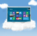 Cloud technologies modern laptop in skies Stock Photo