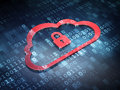 Cloud technology concept red cloud padlock with on digital background d render Royalty Free Stock Photo