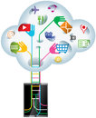 Cloud technology idea handheld device searching data information from Stock Photo