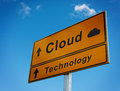 Cloud technology road sign. Royalty Free Stock Images