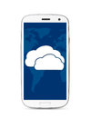 Cloud touch screen phone icon on cut out from white Stock Photos