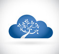 Cloud tree illustration design over a white background Stock Images