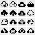 Cloud vector icons set on gray isolated grey background eps file available Stock Photos