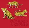 Clouded Leopard Cartoon Vector Illustration