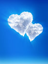 Clouds — as hearts. Heavenly love Royalty Free Stock Photography