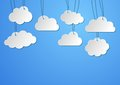 Clouds background blank paper hanging on the strings Stock Photos
