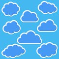 Clouds background set of various blue on blue Royalty Free Stock Photography