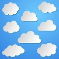 Clouds background various white paper collection on blue Royalty Free Stock Photos