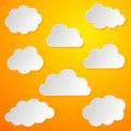 Clouds background various white paper collection on orange Stock Photo