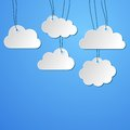 Clouds background white blank paper hanging on the strings Royalty Free Stock Image