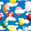 Clouds and balloons seamless vector illustration of pattern Royalty Free Stock Image