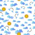 Clouds, rainbow and sun on a white background seamless pattern