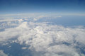 Clouds and blue sky seen from plane Royalty Free Stock Photos