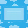 Clouds in blue sky. Square frame for text. Light blue background. Royalty Free Stock Photo