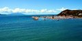 Clouds, coast, rocks, panoramic vew on Salivoli, in Livorno, Tuscany, Italy Royalty Free Stock Photo