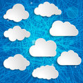 Clouds collection on a blue striped background white Stock Photo
