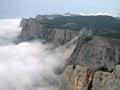Clouds in crimean mountains ai petri plateau near yalta Stock Photos