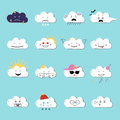 Clouds cute emoji, smily emoticons faces set. Vector flat illustration