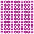 100 clouds icons hexagon violet