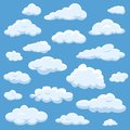 Clouds isolated on blue sky cloudy bright cloudscape. Nature air weather fluffy white cloud illustration.