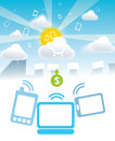 Clouds mobile payments saas and from any devices tablets laptops desktop sun and bright day Royalty Free Stock Photo