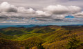 Clouds over the Blue Ridge Mountains, seen from Blackrock Summit in Shenandoah National Park Royalty Free Stock Photo