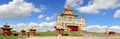 Clouds over the Buddhist temple. Golden Abode of Buddha Shakyamuni in Elista, Republic of Kalmykia, Russia Royalty Free Stock Photo