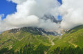 Clouds this is over mountains in caucasus nature Royalty Free Stock Image