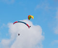 Clouds over para gliders two flying on a cloudy day Stock Photography