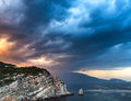 Clouds over the sea and the rocks of the Crimea Royalty Free Stock Images