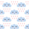 Clouds pattern. Seamless pattern with smiling sleeping clouds and hearts for kids holidays. Cute baby shower vector background. Royalty Free Stock Photo