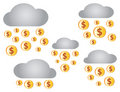 Clouds with Rain of Dollars Royalty Free Stock Images