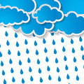 Clouds with rain drops on a white background blue Royalty Free Stock Photos