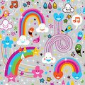 Clouds rainbows rain drops hearts pattern Stock Image