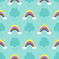 Clouds with raindrops and rainbows. Cute seamless pattern for children.