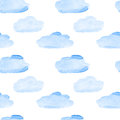 Clouds seamless blue watercolor pattern Stock Photo