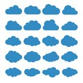 Clouds silhouettes. Vector set of clouds shapes. Collection of various forms and contours. Design elements for the weather forecas