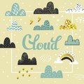 Clouds and Sky Spring Design. Summer Childish Background with Rainbow for Cover, Decoration, Prints