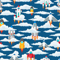 Clouds and space ships seamless pattern