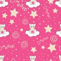 Clouds and stars kids seamless pattern design